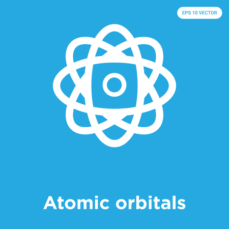 Atomic orbitals vector icon isolated on blue background, sign and symbol, Atomic orbitals icons collection