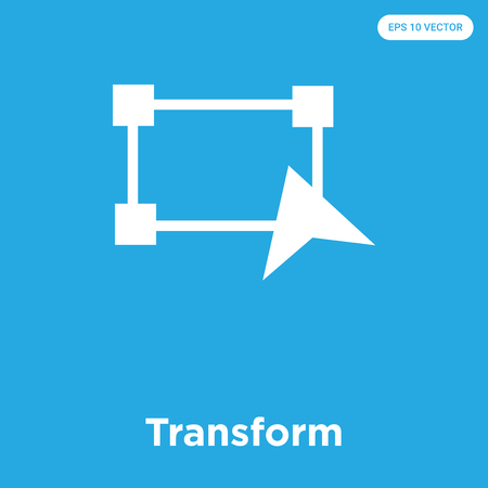Transform vector icon isolated on blue background, sign and symbol, Transform icons collection Çizim