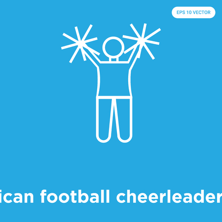 American football cheerleader jump vector icon isolated on blue background, sign and symbol, American football cheerleader jump icons collection