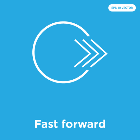 Fast forward vector icon isolated on blue background, sign and symbol, Fast forward icons collection