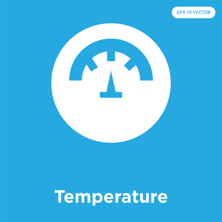 Temperature vector icon isolated on blue background, sign and symbol, Temperature icons collection Çizim