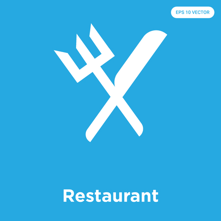 Restaurant vector icon isolated on blue background, sign and symbol, Restaurant icons collection