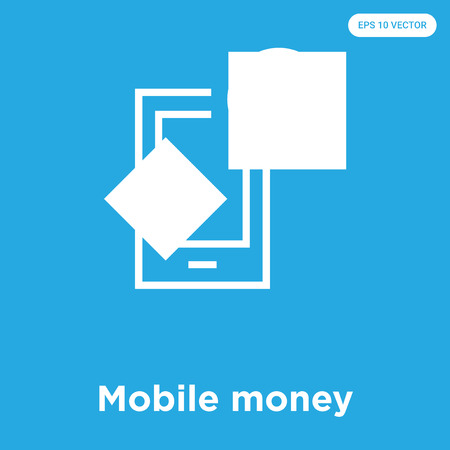 Mobile money vector icon isolated on blue background, sign and symbol, Mobile money icons collection