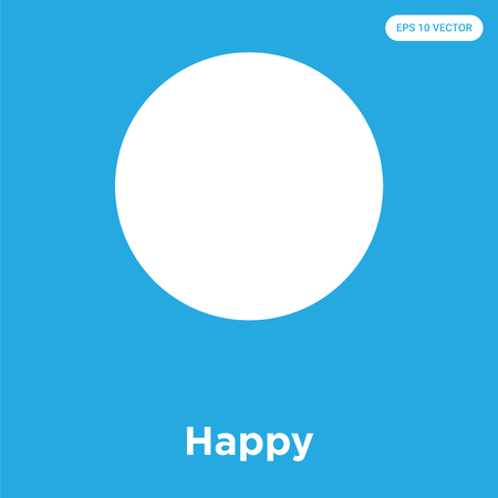 Happy vector icon isolated on blue background, sign and symbol, Happy icons collection