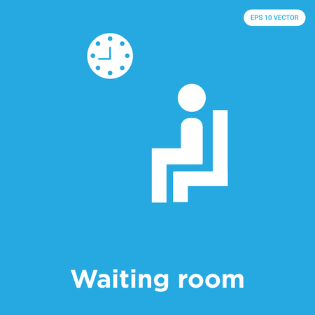 Waiting room vector icon isolated on blue background, sign and symbol, Waiting room icons collection