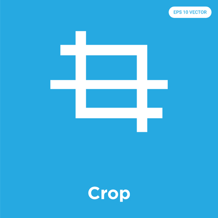 Crop vector icon isolated on blue background, sign and symbol, Crop icons collection