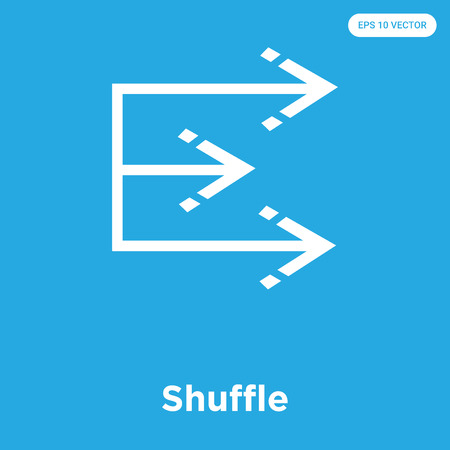 Shuffle vector icon isolated on blue background, sign and symbol, Shuffle icons collection Çizim