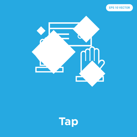 Tap vector icon isolated on blue background, sign and symbol, Tap icons collection
