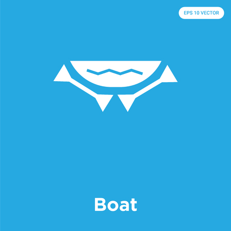 Boat vector icon isolated on blue background, sign and symbol, Boat icons collection Çizim