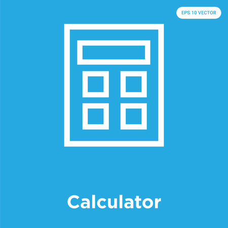 Calculator vector icon isolated on blue background, sign and symbol, Calculator icons collection