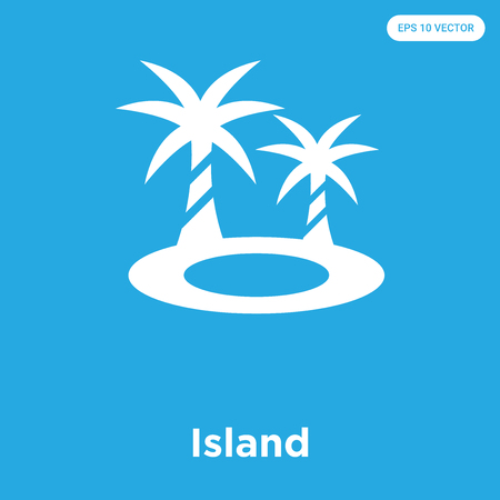 Island vector icon isolated on blue background, sign and symbol, Island icons collection