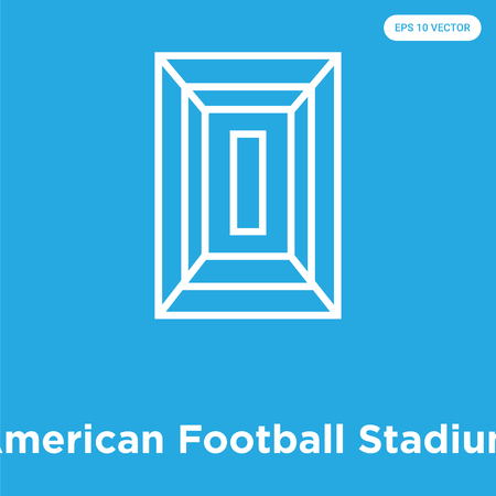 American Football Stadium vector icon isolated on blue background, sign and symbol, American Football Stadium icons collection Çizim