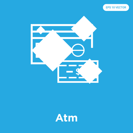 Atm vector icon isolated on blue background, sign and symbol, Atm icons collection