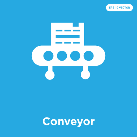 Conveyor vector icon isolated on blue background, sign and symbol, Conveyor icons collection 일러스트