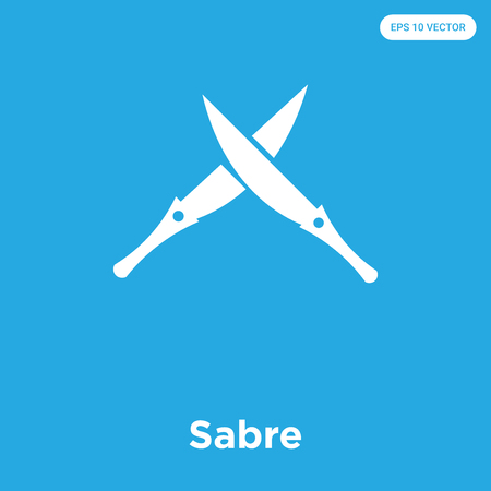 Sabre vector icon isolated on blue background, sign and symbol, Sabre icons collection Çizim