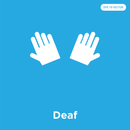 Deaf vector icon isolated on blue background, sign and symbol, Deaf icons collection