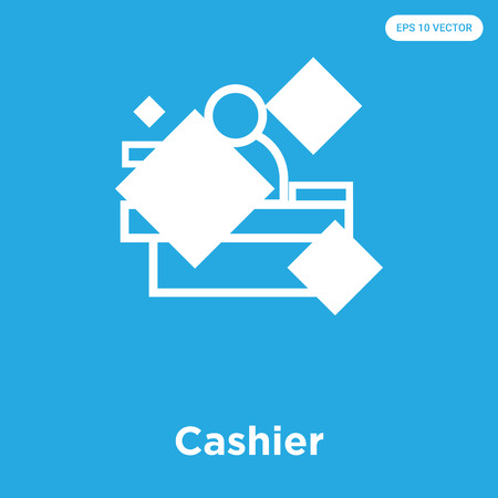 Cashier vector icon isolated on blue background, sign and symbol, Cashier icons collection