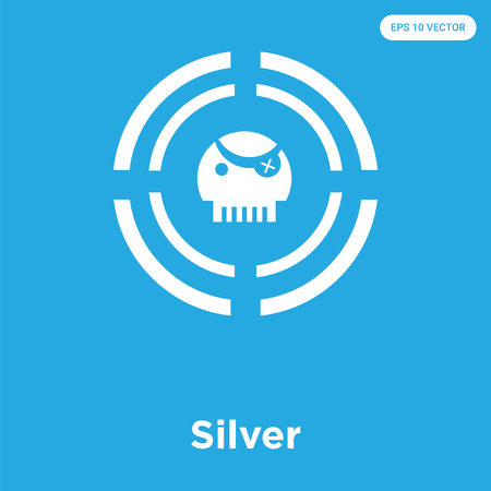 Silver vector icon isolated on blue background, sign and symbol, Silver icons collection