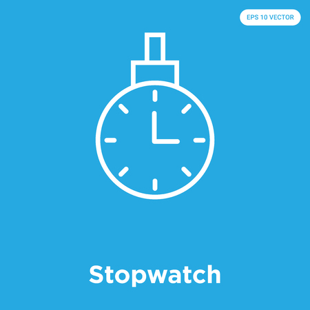 Stopwatch vector icon isolated on blue background, sign and symbol, Stopwatch icons collection Çizim