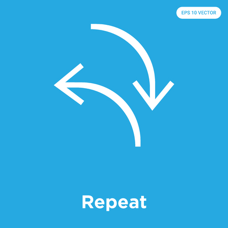 Repeat vector icon isolated on blue background, sign and symbol, Repeat icons collection