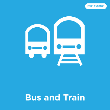 Bus and Train vector icon isolated on blue background, sign and symbol, Bus and Train icons collection