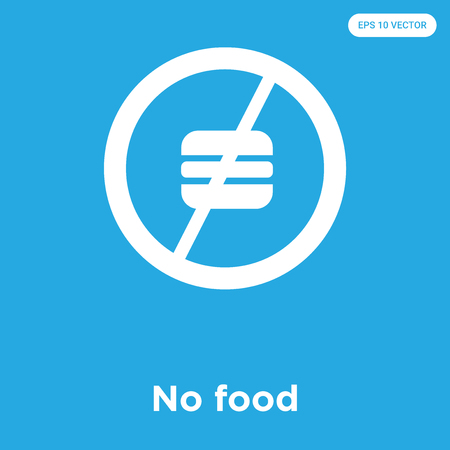 No food vector icon isolated on blue background, sign and symbol, No food icons collection