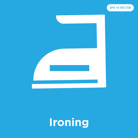 Ironing vector icon isolated on blue background, sign and symbol, Ironing icons collection Çizim