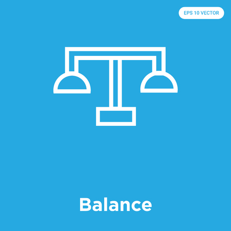 Balance vector icon isolated on blue background, sign and symbol, Balance icons collection Foto de archivo - 114806054