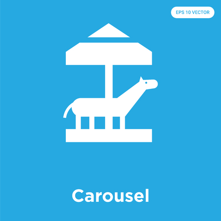 Carousel vector icon isolated on blue background, sign and symbol, Carousel icons collection Ilustrace