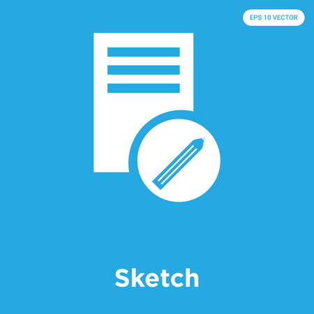 Sketch vector icon isolated on blue background, sign and symbol, Sketch icons collection