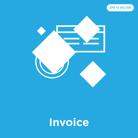 Invoice vector icon isolated on blue background, sign and symbol, Invoice icons collection