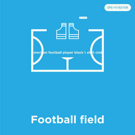 Football field vector icon isolated on blue background, sign and symbol, Football field icons collection Ilustrace