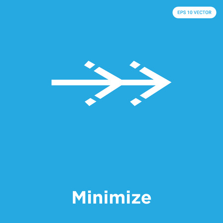 Minimize vector icon isolated on blue background, sign and symbol, Minimize icons collection
