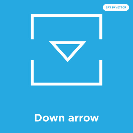 Down arrow vector icon isolated on blue background, sign and symbol, Down arrow icons collection Ilustrace