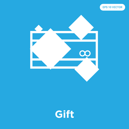 Gift vector icon isolated on blue background, sign and symbol, Gift icons collection