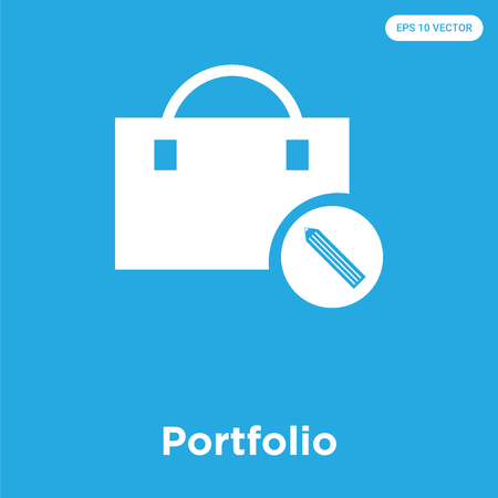 Portfolio vector icon isolated on blue background, sign and symbol, Portfolio icons collection