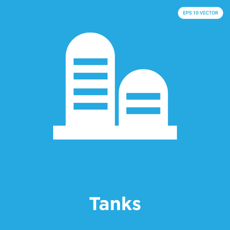 Tanks vector icon isolated on blue background, sign and symbol, Tanks icons collection Ilustrace