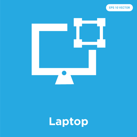 Laptop vector icon isolated on blue background, sign and symbol, Laptop icons collection