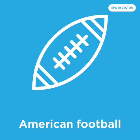 American football vector icon isolated on blue background, sign and symbol, American football icons collection