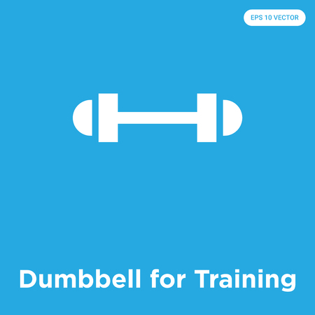Dumbbell for Training vector icon isolated on blue background, sign and symbol, Dumbbell for Training icons collection