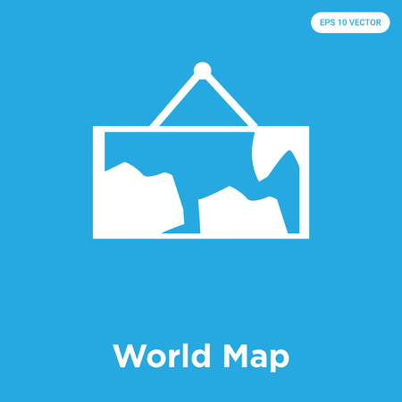 World Map vector icon isolated on blue background, sign and symbol, World Map icons collection