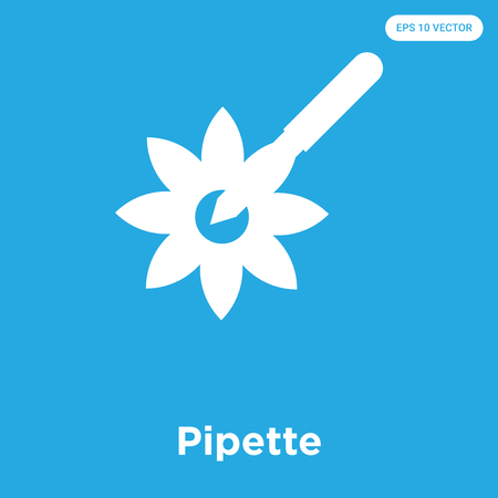 Pipette vector icon isolated on blue background, sign and symbol, Pipette icons collection