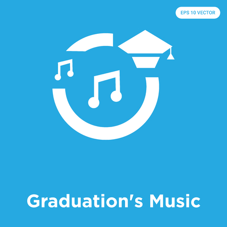 Graduations Music vector icon isolated on blue background, sign and symbol, Graduations Music icons collection Ilustrace