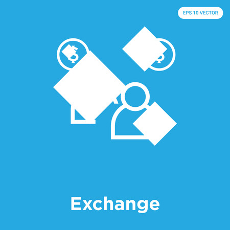 Exchange vector icon isolated on blue background, sign and symbol, Exchange icons collection Illustration