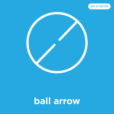 ball arrow vector icon isolated on blue background, sign and symbol, ball arrow icons collection