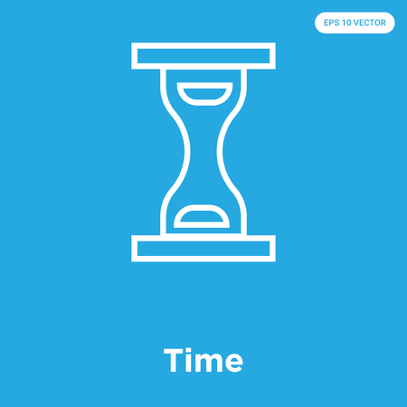 Time vector icon isolated on blue background, sign and symbol, Time icons collection