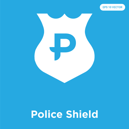 Police Shield vector icon isolated on blue background, sign and symbol, Police Shield icons collection