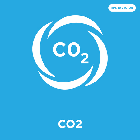 CO2 vector icon isolated on blue background, sign and symbol, CO2 icons collection Foto de archivo - 114806082