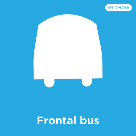 Frontal bus vector icon isolated on blue background, sign and symbol, Frontal bus icons collection