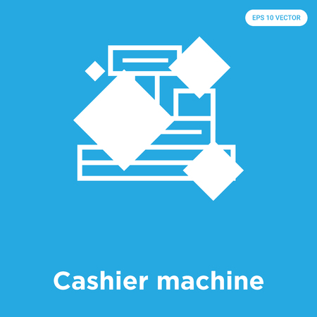 Cashier machine vector icon isolated on blue background, sign and symbol, Cashier machine icons collection Ilustrace